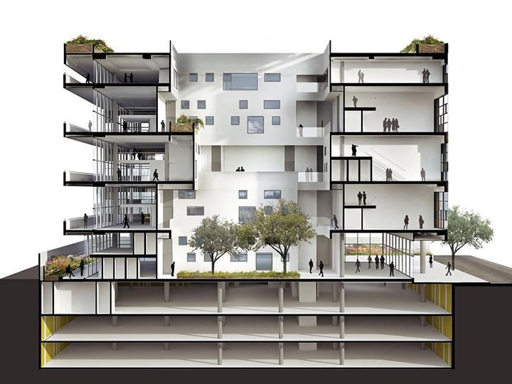 (手机和电脑可同时登录我们网站,可注册可在线交易)。效果图制作,建筑效果图,家装效果图,工装效果图,景观园林规划效果图,Lumion动画制作,建筑动画。  屹立在 Rebouças大道和Capote Valente 街的转角处的 Pinheiros 街区,项目包含了46间办公单元和一间剧场。  建筑位于一个正方形的场地上。设计是希望营造出一个正方体的体量,内部有连续的穿孔掏空,形成室内的采光与通风。项目的公共空间,比如接待处,剧场大堂和公共流线,位于中心大厅的四周。通过花园渗透的多样空间给予