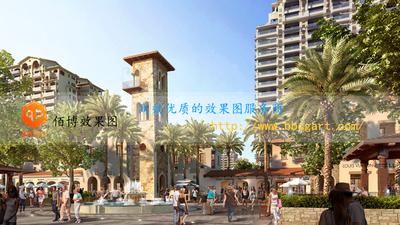 建筑效果图住宅区商业广场